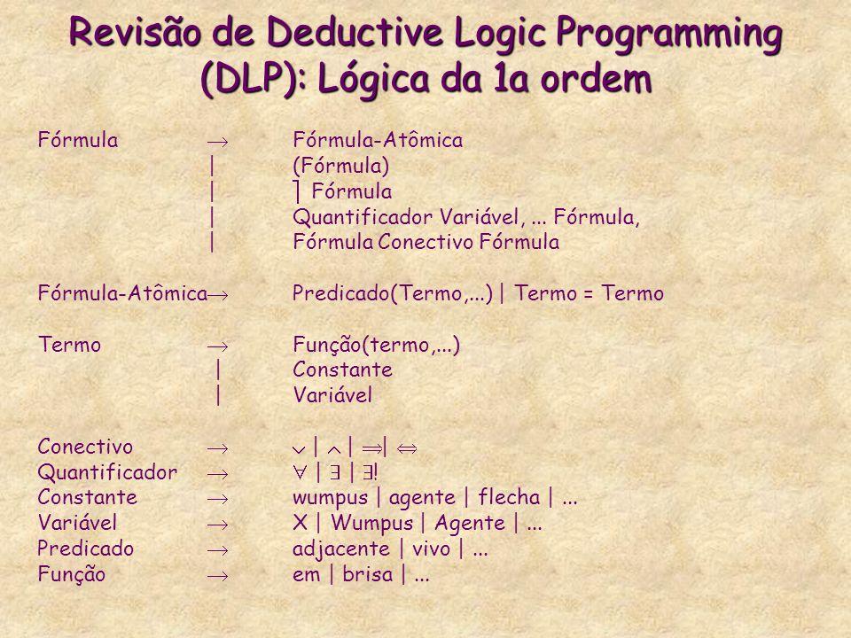 Revisão de Deductive Logic Programming (DLP): Lógica da 1a ordem Fórmula Fórmula-Atômica | (Fórmula) | Fórmula |Quantificador Variável,... Fórmula, |