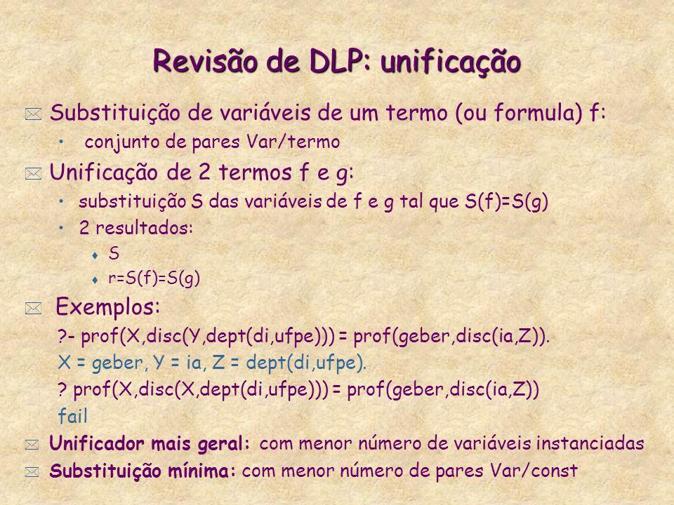 Revisão de DLP: unificação * Substituição de variáveis de um termo (ou formula) f: conjunto de pares Var/termo * Unificação de 2 termos f e g: substit