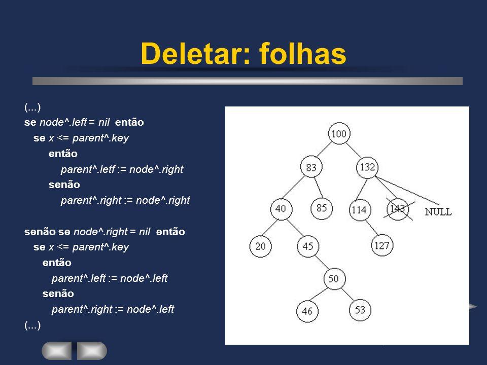 Deletar: folhas (...) se node^.left = nil então se x <= parent^.key então parent^.letf := node^.right senão parent^.right := node^.right senão se node