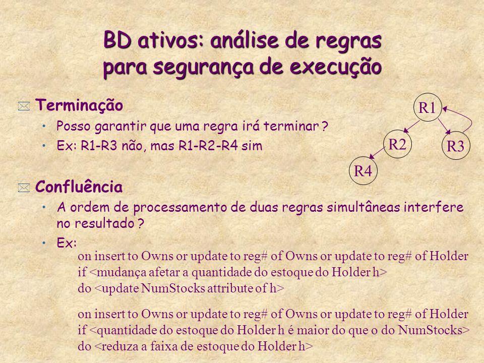 BD ativos: análise de regras para segurança de execução * Terminação Posso garantir que uma regra irá terminar ? Ex: R1-R3 não, mas R1-R2-R4 sim * Con