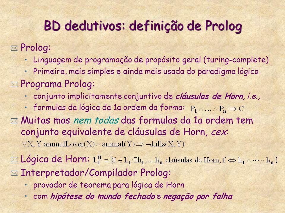 BD dedutivos: definição de Prolog * Prolog: Linguagem de programação de propósito geral (turing-complete) Primeira, mais simples e ainda mais usada do