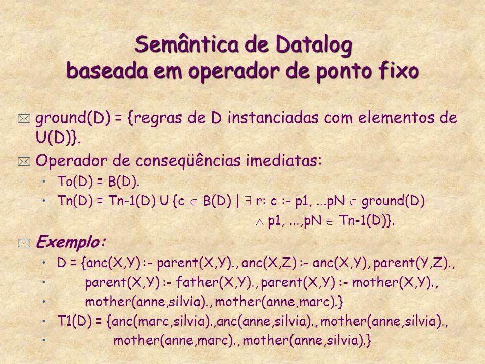 Semântica de Datalog baseada em operador de ponto fixo * ground(D) = {regras de D instanciadas com elementos de U(D)}. * Operador de conseqüências ime