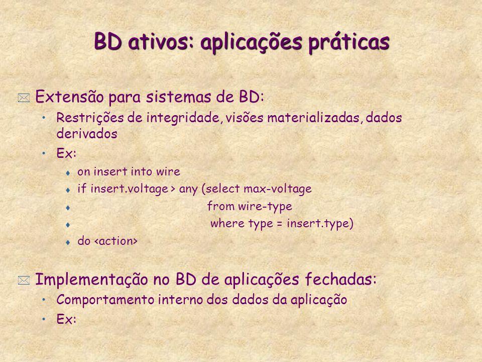 BD ativos: aplicações práticas * Extensão para sistemas de BD: Restrições de integridade, visões materializadas, dados derivados Ex: t on insert into