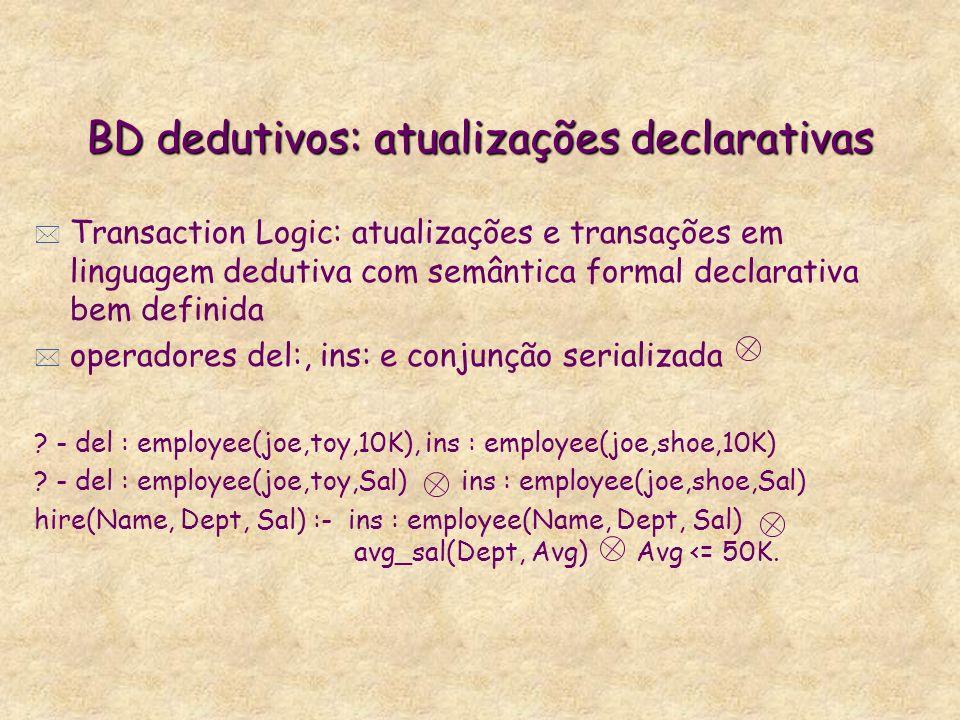 BD dedutivos: atualizações declarativas * Transaction Logic: atualizações e transações em linguagem dedutiva com semântica formal declarativa bem defi