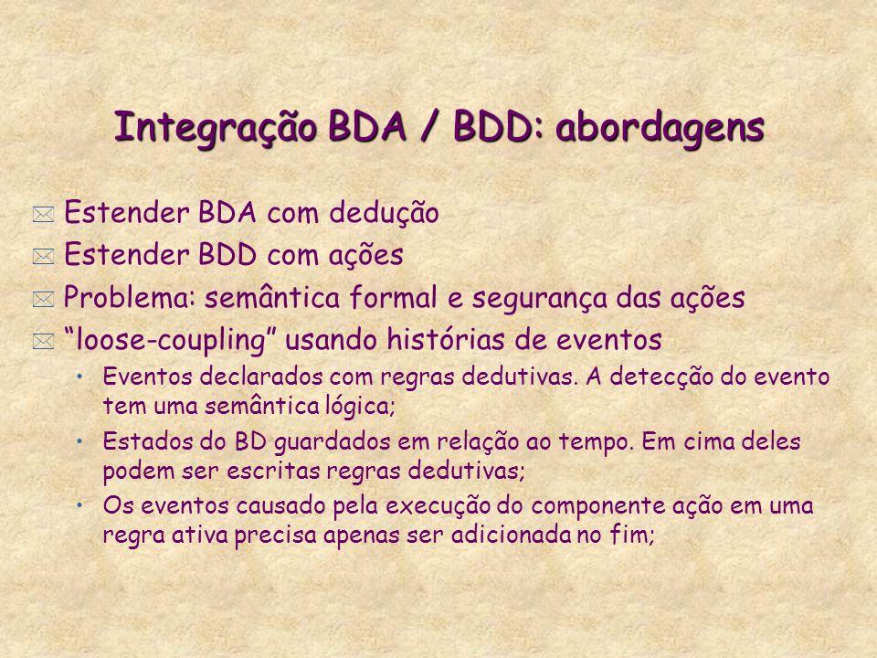 Integração BDA / BDD: abordagens * Estender BDA com dedução * Estender BDD com ações * Problema: semântica formal e segurança das ações * loose-coupli