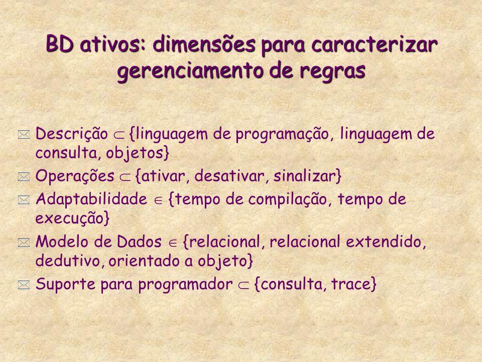 BD ativos: dimensões para caracterizar gerenciamento de regras * Descrição {linguagem de programação, linguagem de consulta, objetos} * Operações {ati