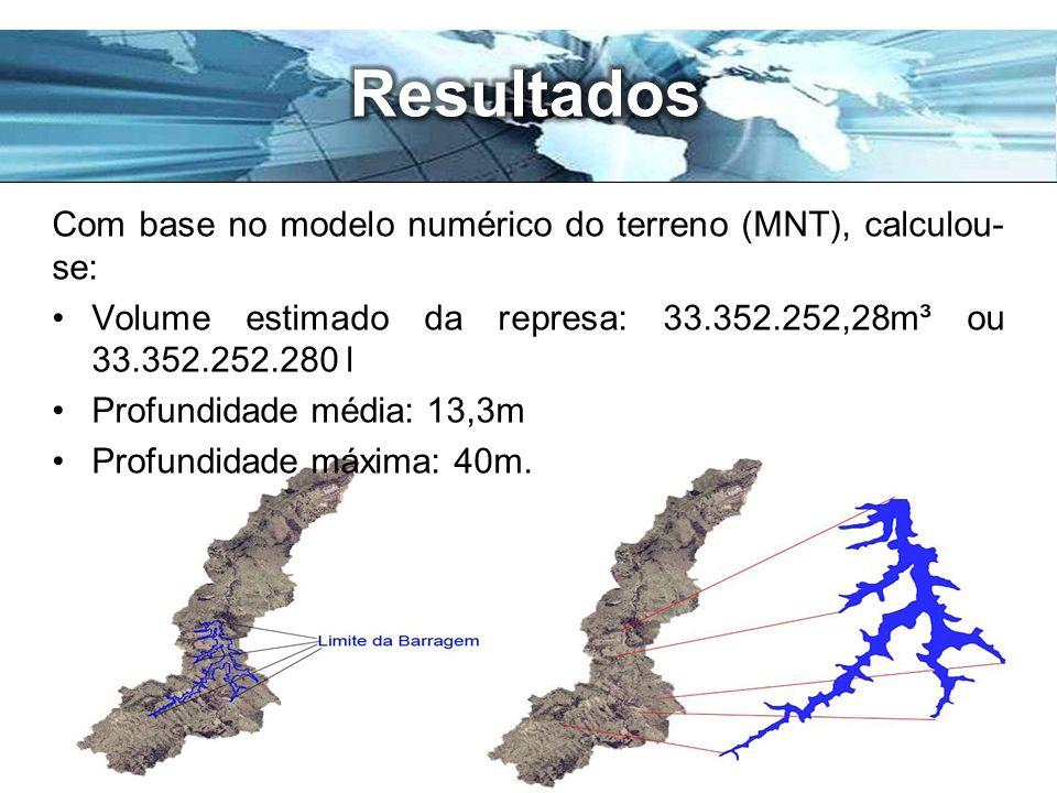 Page 12 Com base no modelo numérico do terreno (MNT), calculou- se: Volume estimado da represa: 33.352.252,28m³ ou 33.352.252.280 l Profundidade média