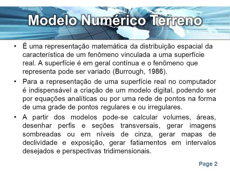 Page 2 É uma representação matemática da distribuição espacial da característica de um fenômeno vinculada a uma superfície real. A superfície é em ger
