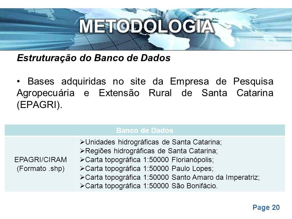 Page 20 Estruturação do Banco de Dados Bases adquiridas no site da Empresa de Pesquisa Agropecuária e Extensão Rural de Santa Catarina (EPAGRI). Banco