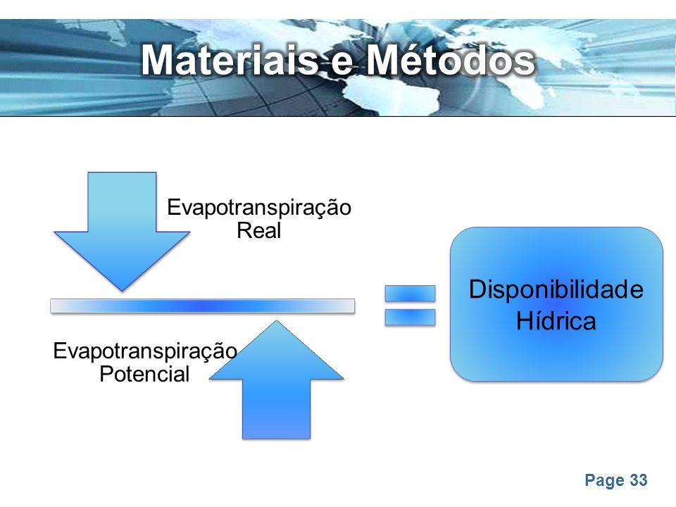 Page 33 Evapotranspiração Real Evapotranspiração Potencial Disponibilidade Hídrica