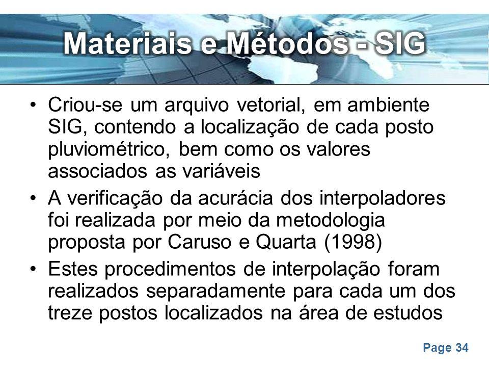 Page 34 Criou-se um arquivo vetorial, em ambiente SIG, contendo a localização de cada posto pluviométrico, bem como os valores associados as variáveis