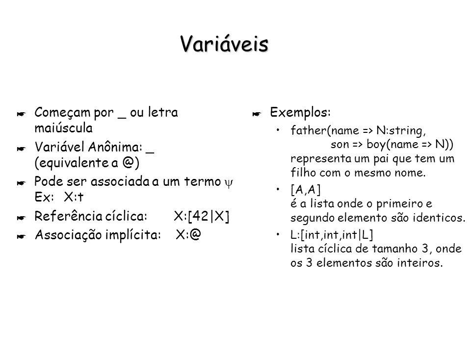 Atributos * Par consistindo em um rótulo e um termo associado.