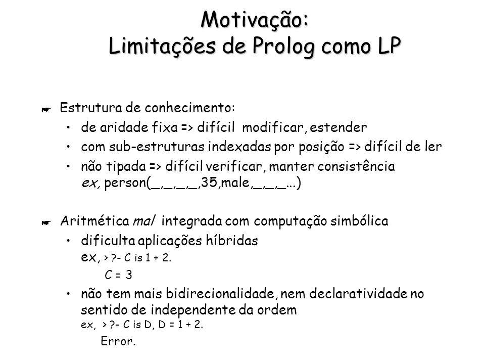 Motivação: Limitações de Prolog como LP * Estrutura de conhecimento: de aridade fixa => difícil modificar, estender com sub-estruturas indexadas por posição => difícil de ler não tipada => difícil verificar, manter consistência ex, person(_,_,_,_,35,male,_,_,_...) * Aritmética mal integrada com computação simbólica dificulta aplicações híbridas ex, > ?- C is 1 + 2.