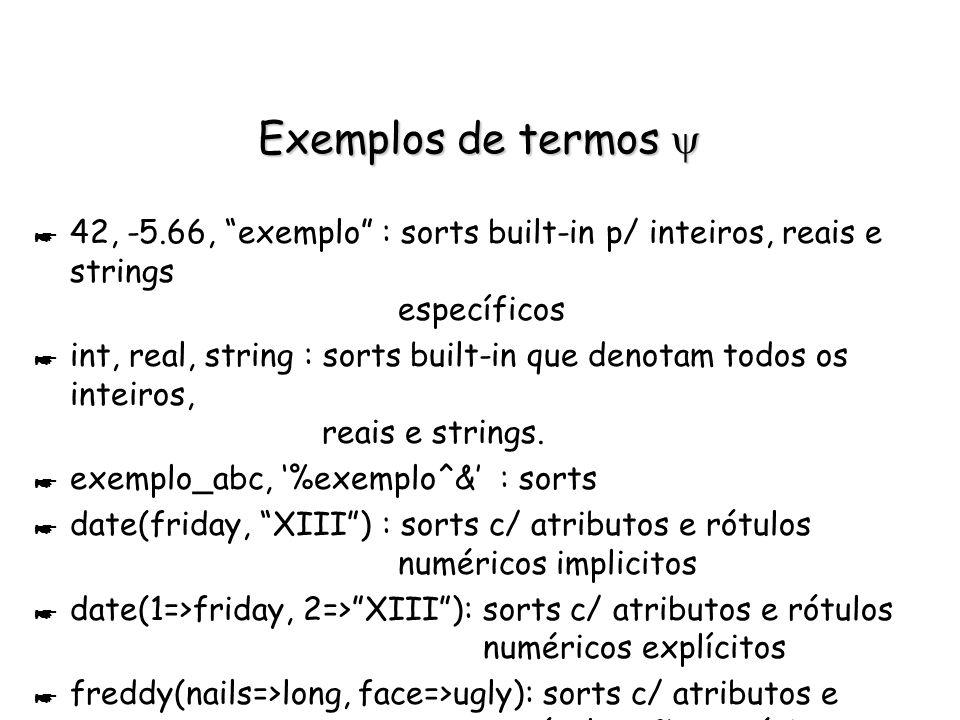 Estrutura de dado de LIFE: termo Estrutura de dado de LIFE: termo * Forma genérica: termo --> Sort | Sort(atributo1,..., atributoN) Variável | Variável:Sort | Variável:Sort(atr1,..., atrN) | Variável:@(atr1,..., atrN) atrI -->valorAtr | nomeAtr => valorAtr nomeAtr -->inteiro | átomo valorAtr --> termo Sort --> builtInSort | UserDefinedSort * Diferenças essenciais com termo Prolog: Variáveis em qualquer nó da árvore (não apenas nas folhas) Sem aridade fixa Sorts são tipos hierarquizáveis termo assinatura de classe em POO