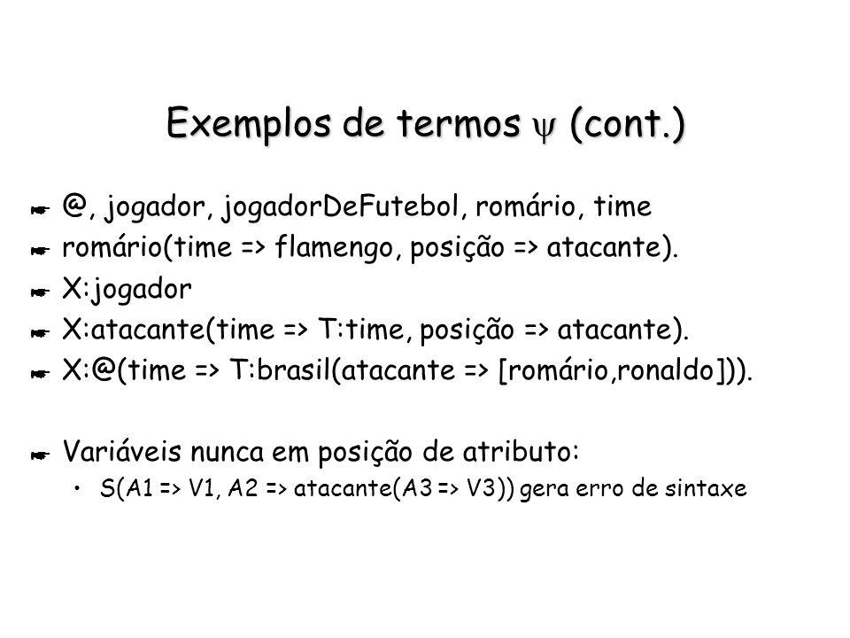 Exemplos de termos Exemplos de termos * 42, -5.66, exemplo : sorts built-in p/ inteiros, reais e strings específicos * int, real, string : sorts built-in que denotam todos os inteiros, reais e strings.
