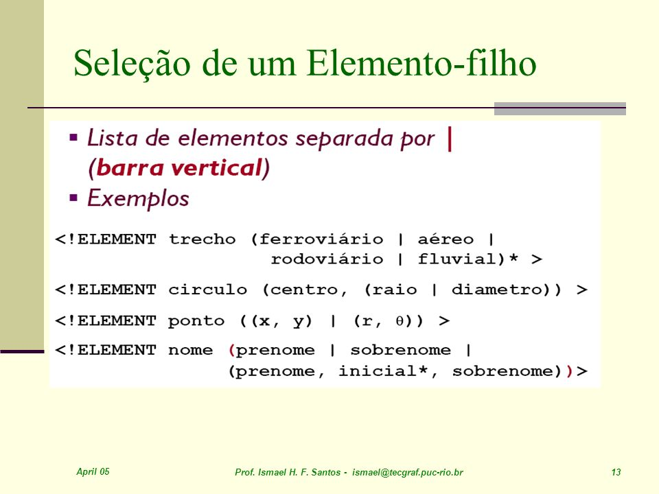 April 05 Prof. Ismael H. F. Santos - ismael@tecgraf.puc-rio.br 13 Seleção de um Elemento-filho