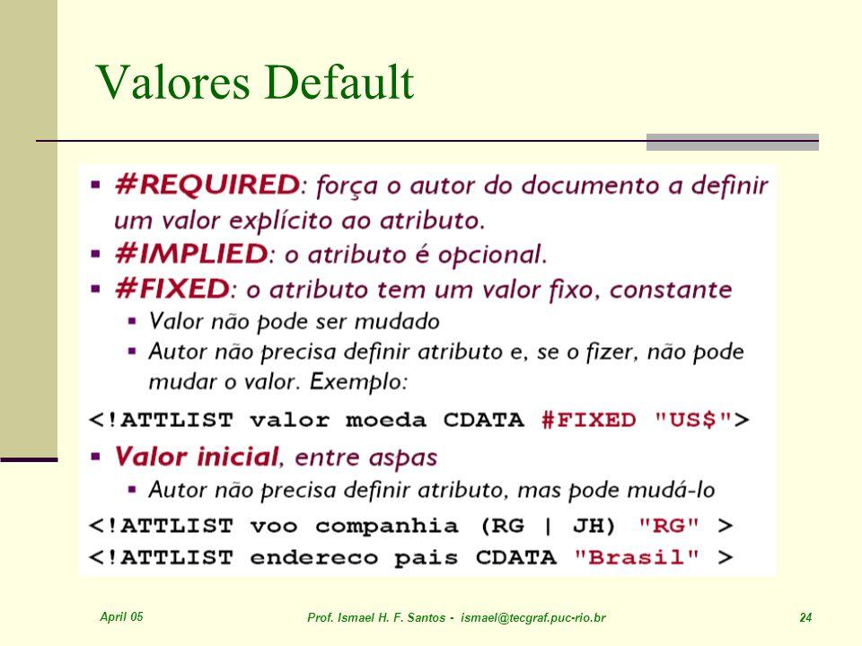 April 05 Prof. Ismael H. F. Santos - ismael@tecgraf.puc-rio.br 24 Valores Default
