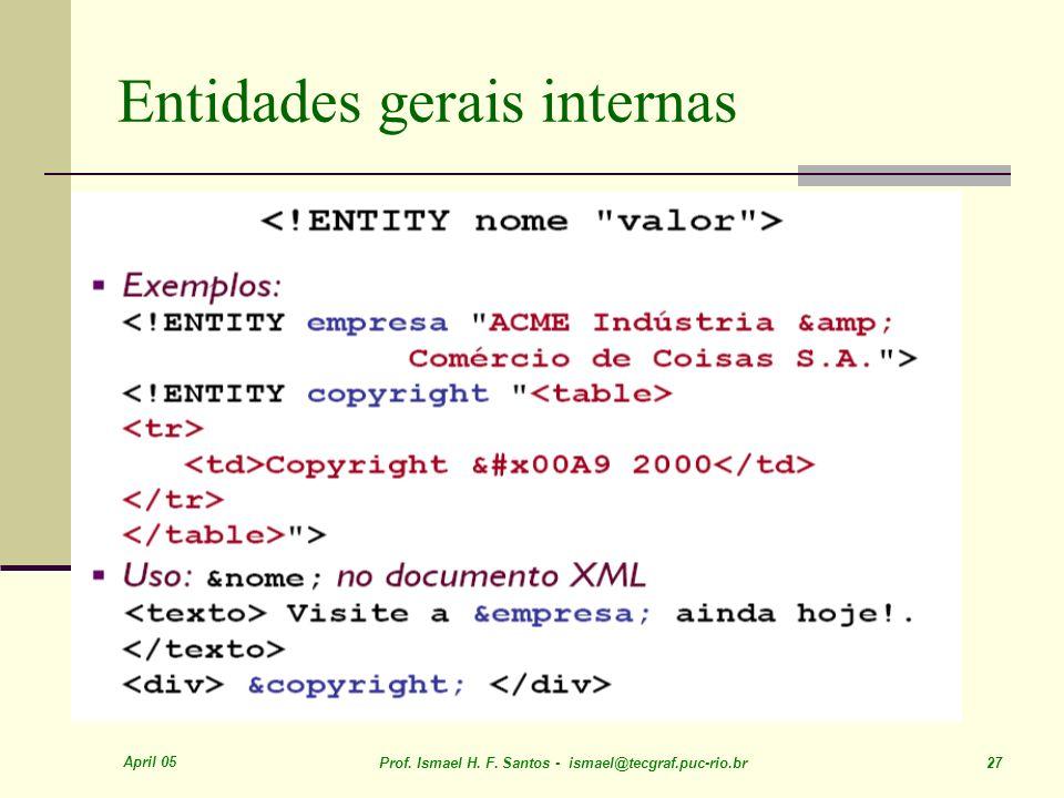 April 05 Prof. Ismael H. F. Santos - ismael@tecgraf.puc-rio.br 27 Entidades gerais internas