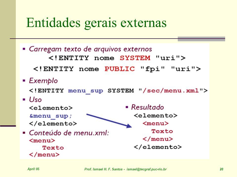 April 05 Prof. Ismael H. F. Santos - ismael@tecgraf.puc-rio.br 28 Entidades gerais externas