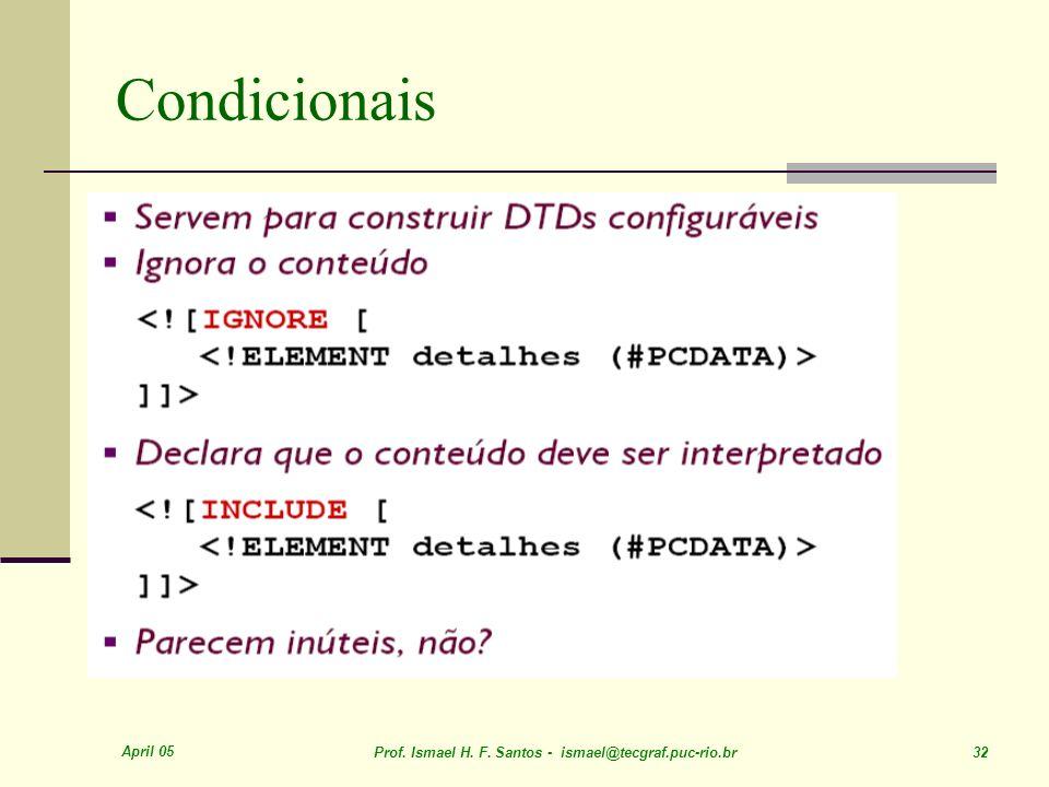 April 05 Prof. Ismael H. F. Santos - ismael@tecgraf.puc-rio.br 32 Condicionais