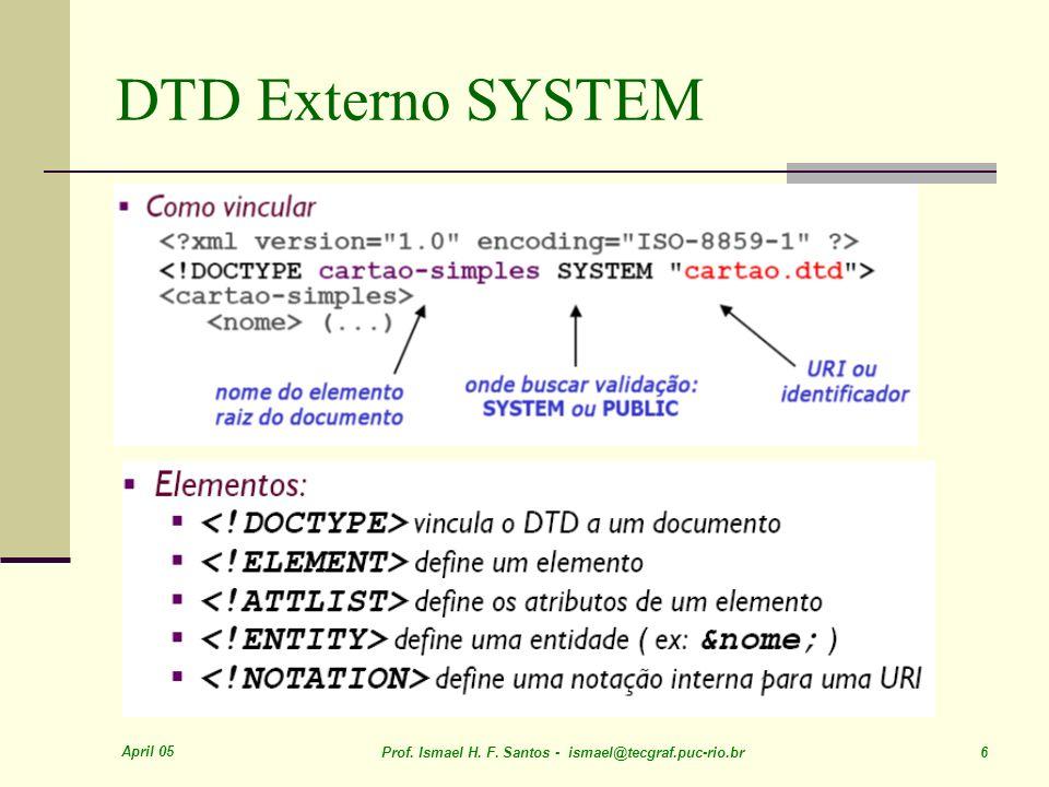 April 05 Prof. Ismael H. F. Santos - ismael@tecgraf.puc-rio.br 6 DTD Externo SYSTEM