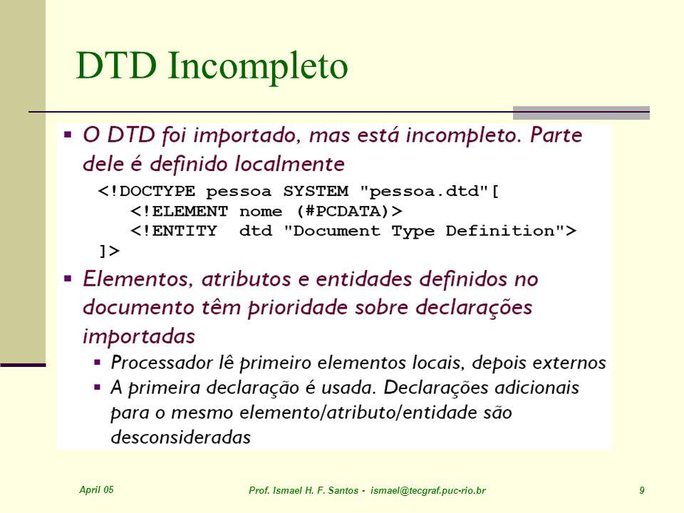 April 05 Prof. Ismael H. F. Santos - ismael@tecgraf.puc-rio.br 9 DTD Incompleto