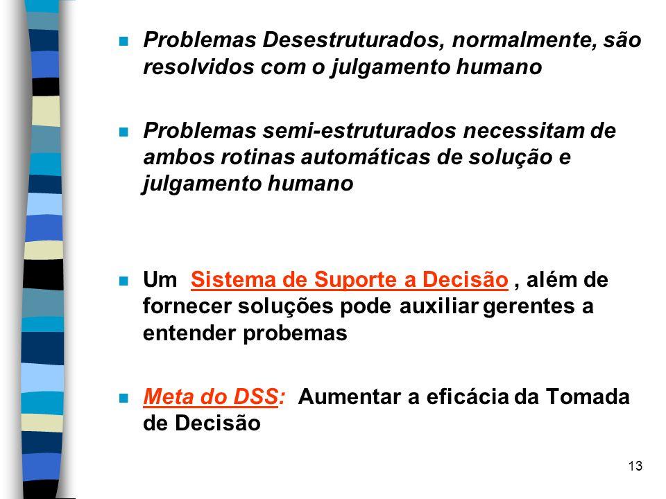 13 Problemas Desestruturados, normalmente, são resolvidos com o julgamento humano Problemas semi-estruturados necessitam de ambos rotinas automáticas