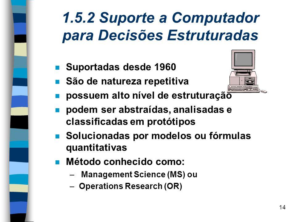 14 1.5.2 Suporte a Computador para Decisões Estruturadas Suportadas desde 1960 São de natureza repetitiva possuem alto nível de estruturação podem ser