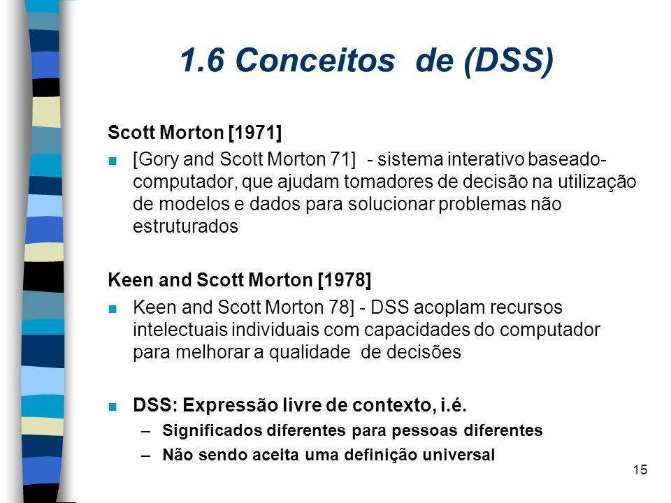 15 1.6 Conceitos de (DSS) Scott Morton [1971] [Gory and Scott Morton 71] - sistema interativo baseado- computador, que ajudam tomadores de decisão na
