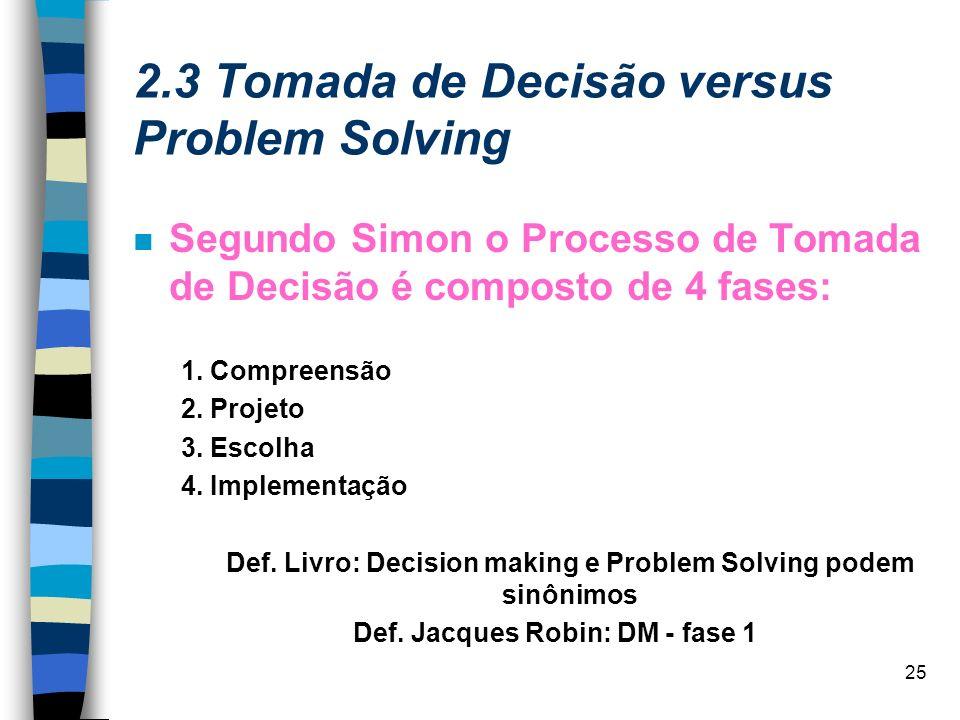 25 2.3 Tomada de Decisão versus Problem Solving Segundo Simon o Processo de Tomada de Decisão é composto de 4 fases: 1. Compreensão 2. Projeto 3. Esco