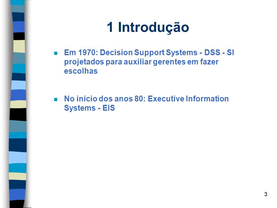 3 1 Introdução n Em 1970: Decision Support Systems - DSS - SI projetados para auxiliar gerentes em fazer escolhas No início dos anos 80: Executive Inf