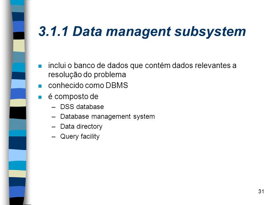 31 3.1.1 Data managent subsystem inclui o banco de dados que contém dados relevantes a resolução do problema conhecido como DBMS é composto de –DSS da