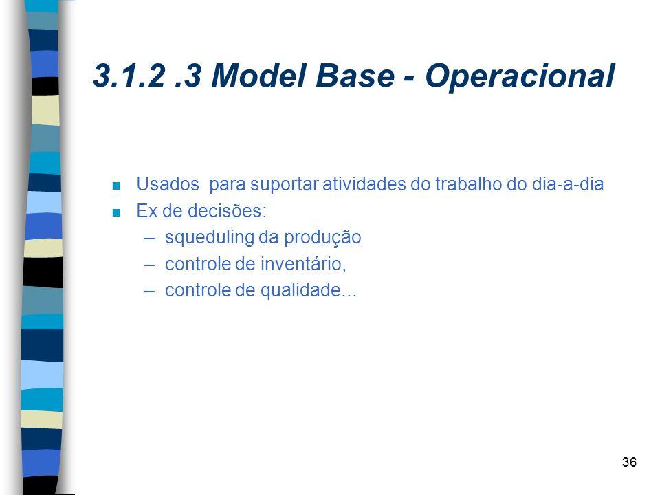 36 3.1.2.3 Model Base - Operacional n Usados para suportar atividades do trabalho do dia-a-dia n Ex de decisões: –squeduling da produção –controle de