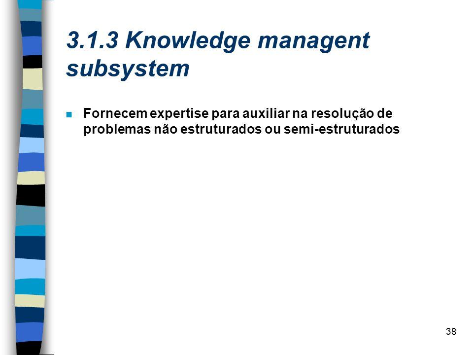 38 3.1.3 Knowledge managent subsystem Fornecem expertise para auxiliar na resolução de problemas não estruturados ou semi-estruturados