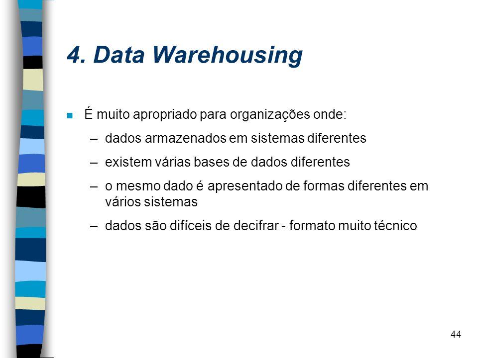 44 4. Data Warehousing É muito apropriado para organizações onde: –dados armazenados em sistemas diferentes –existem várias bases de dados diferentes