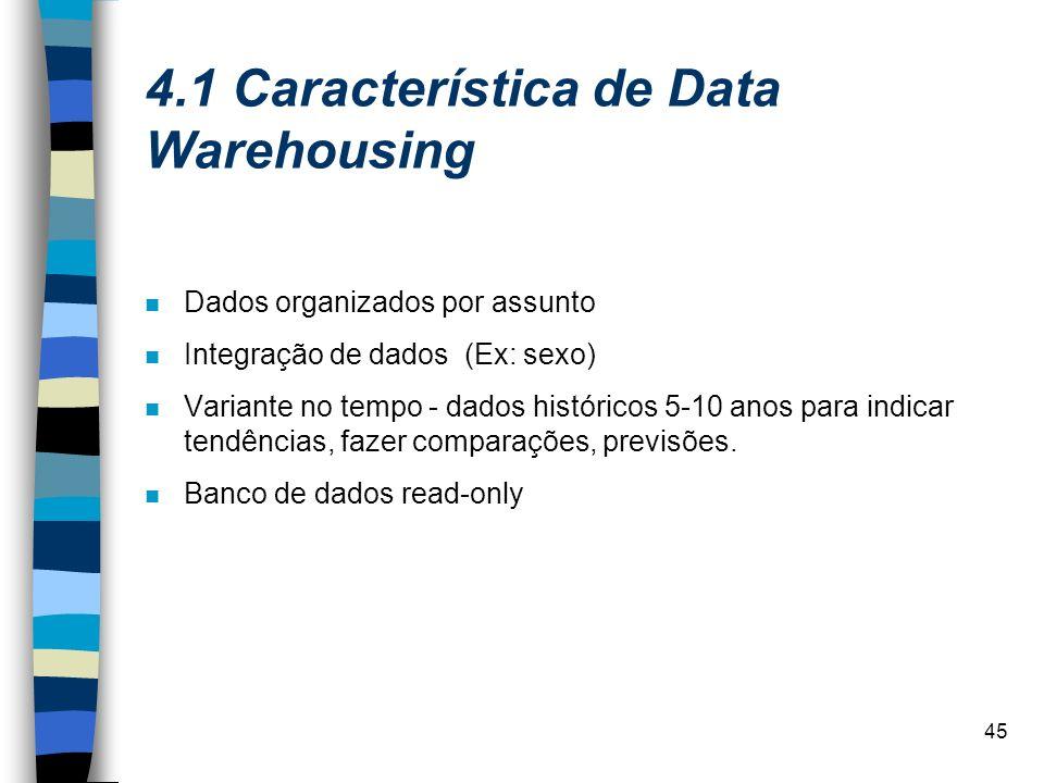 45 4.1 Característica de Data Warehousing Dados organizados por assunto Integração de dados (Ex: sexo) Variante no tempo - dados históricos 5-10 anos
