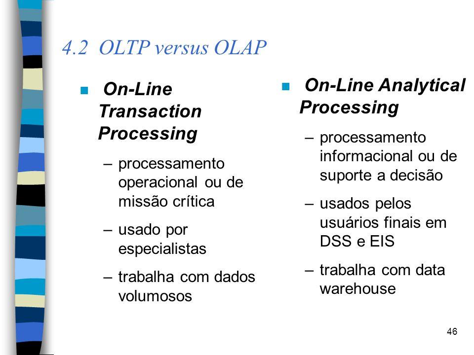 46 4.2 OLTP versus OLAP n On-Line Transaction Processing –processamento operacional ou de missão crítica –usado por especialistas –trabalha com dados