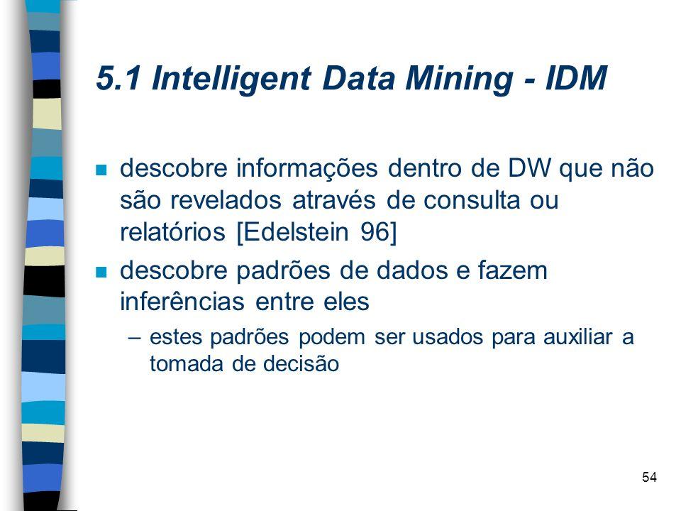 54 5.1 Intelligent Data Mining - IDM n descobre informações dentro de DW que não são revelados através de consulta ou relatórios [Edelstein 96] n desc