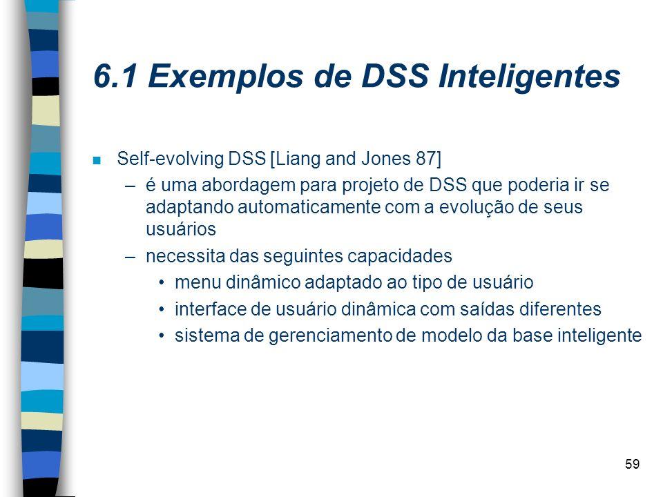 59 6.1 Exemplos de DSS Inteligentes n Self-evolving DSS [Liang and Jones 87] –é uma abordagem para projeto de DSS que poderia ir se adaptando automati