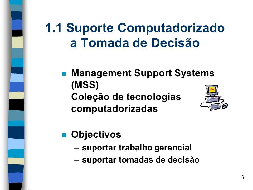 6 1.1 Suporte Computadorizado a Tomada de Decisão Management Support Systems (MSS) Coleção de tecnologias computadorizadas Objectivos –suportar trabal