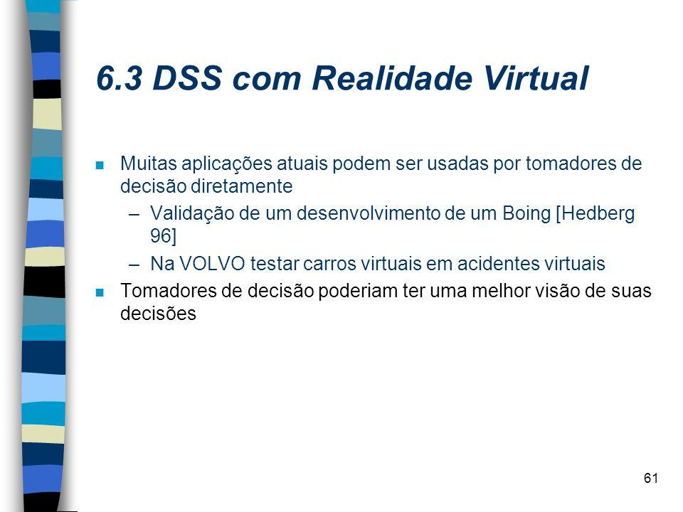 61 6.3 DSS com Realidade Virtual n Muitas aplicações atuais podem ser usadas por tomadores de decisão diretamente –Validação de um desenvolvimento de