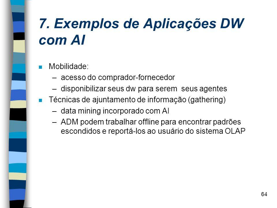 64 7. Exemplos de Aplicações DW com AI n Mobilidade: –acesso do comprador-fornecedor –disponibilizar seus dw para serem seus agentes n Técnicas de aju