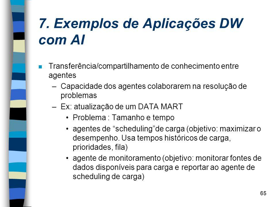 65 7. Exemplos de Aplicações DW com AI n Transferência/compartilhamento de conhecimento entre agentes –Capacidade dos agentes colaborarem na resolução
