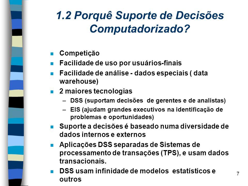 7 1.2 Porquê Suporte de Decisões Computadorizado? Competição Facilidade de uso por usuários-finais Facilidade de análise - dados especiais ( data ware