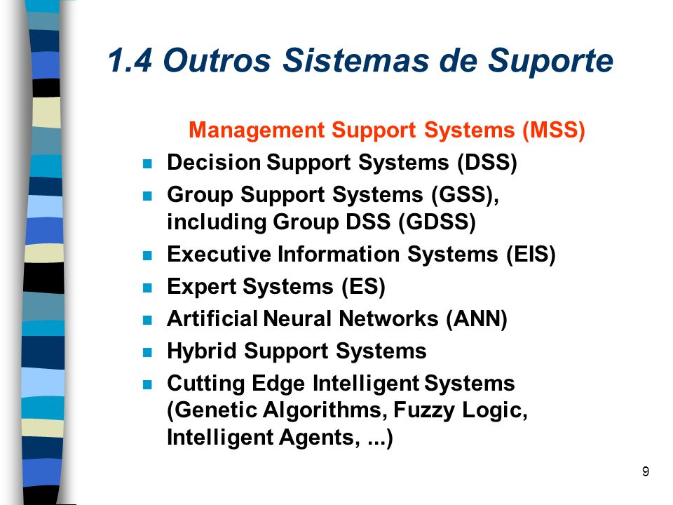 20 1.7 Group Support Systems (GSS) Várias formas de trabalho em grupo: –Groupware –Electronic meeting systems –Collaborative systems –Group Decision Support Systems (GDSS)