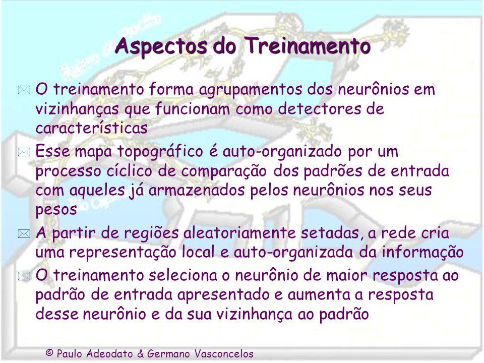 © Paulo Adeodato & Germano Vasconcelos Aspectos do Treinamento * O treinamento forma agrupamentos dos neurônios em vizinhanças que funcionam como dete