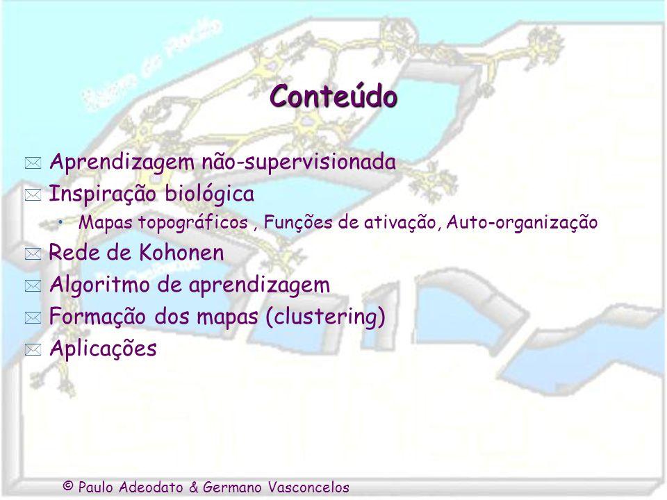 © Paulo Adeodato & Germano Vasconcelos Conteúdo * Aprendizagem não-supervisionada * Inspiração biológica Mapas topográficos, Funções de ativação, Auto-organização * Rede de Kohonen * Algoritmo de aprendizagem * Formação dos mapas (clustering) * Aplicações