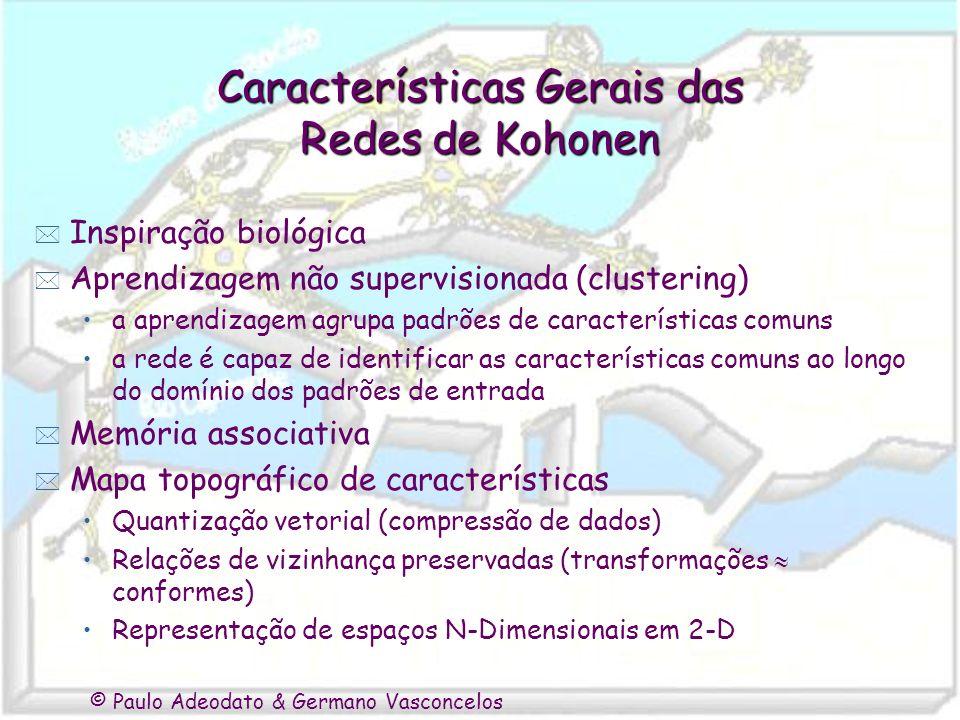 © Paulo Adeodato & Germano Vasconcelos Características Gerais das Redes de Kohonen * Inspiração biológica * Aprendizagem não supervisionada (clusterin