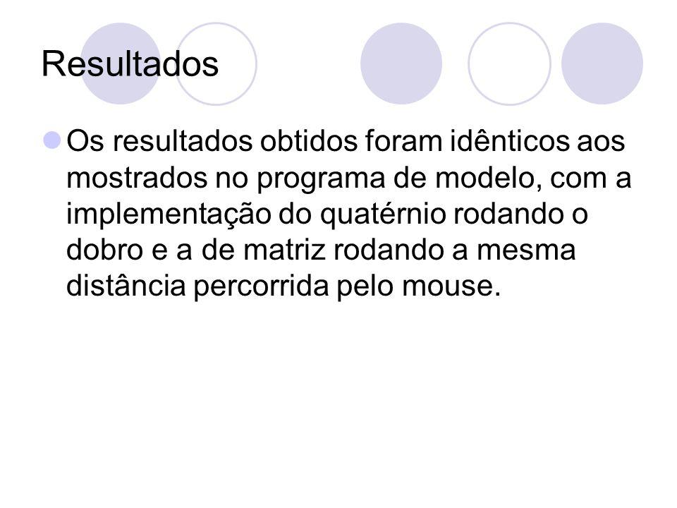 Resultados Os resultados obtidos foram idênticos aos mostrados no programa de modelo, com a implementação do quatérnio rodando o dobro e a de matriz rodando a mesma distância percorrida pelo mouse.