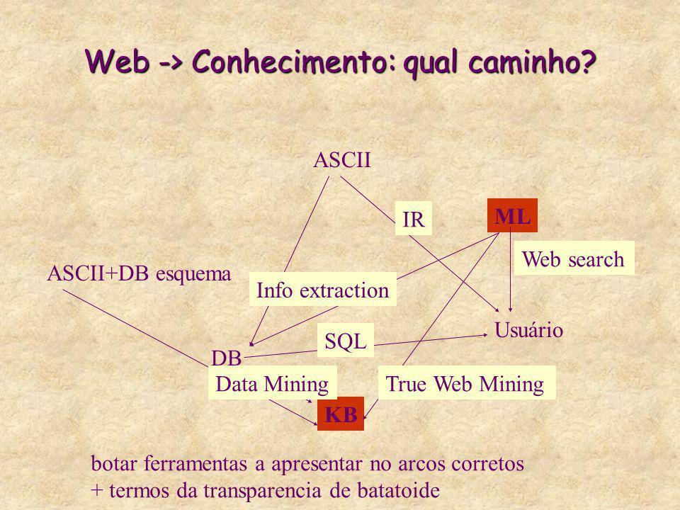 Web -> Conhecimento: qual caminho? ASCII ML DB KB ASCII+DB esquema Data Mining Usuário Web search SQL IR Info extraction True Web Mining botar ferrame